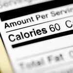 Nutritional label with focus on calories.